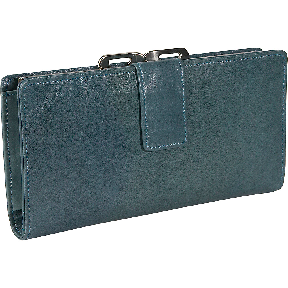 Budd Leather Distressed Leather Clutch Wallet Blue