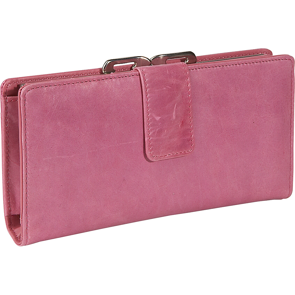 Budd Leather Distressed Leather Clutch Wallet Pink