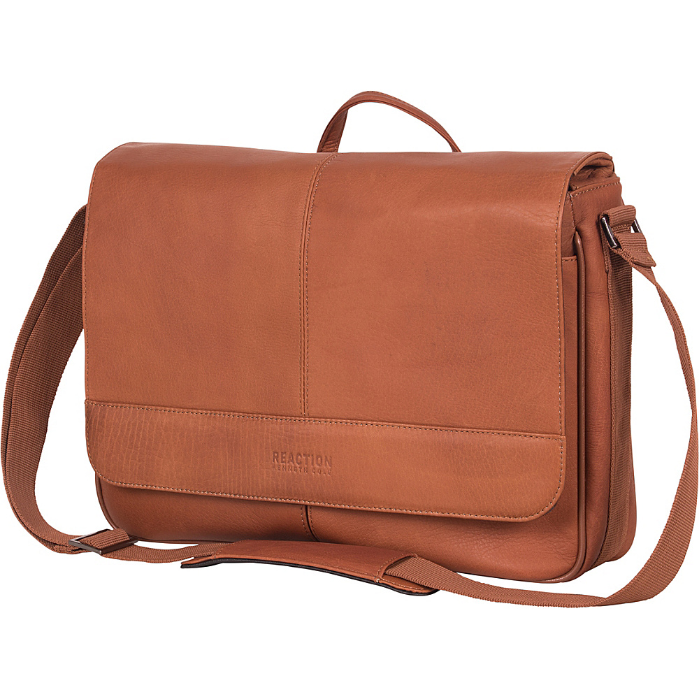 Kenneth Cole Reaction Risky Business Colombian Leather Messenger Bag Cognac Kenneth Cole Reaction Messenger Bags