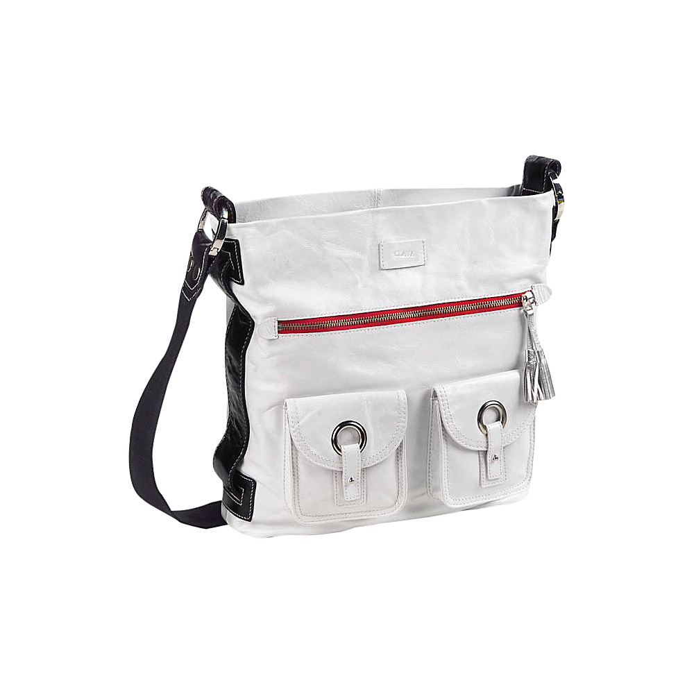 Clava Mimi Messenger Hobo - Glazed White - Handbags, Leather Handbags