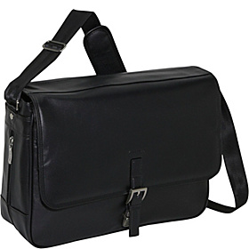What A Bag! Leather Messenger Computer Case Black