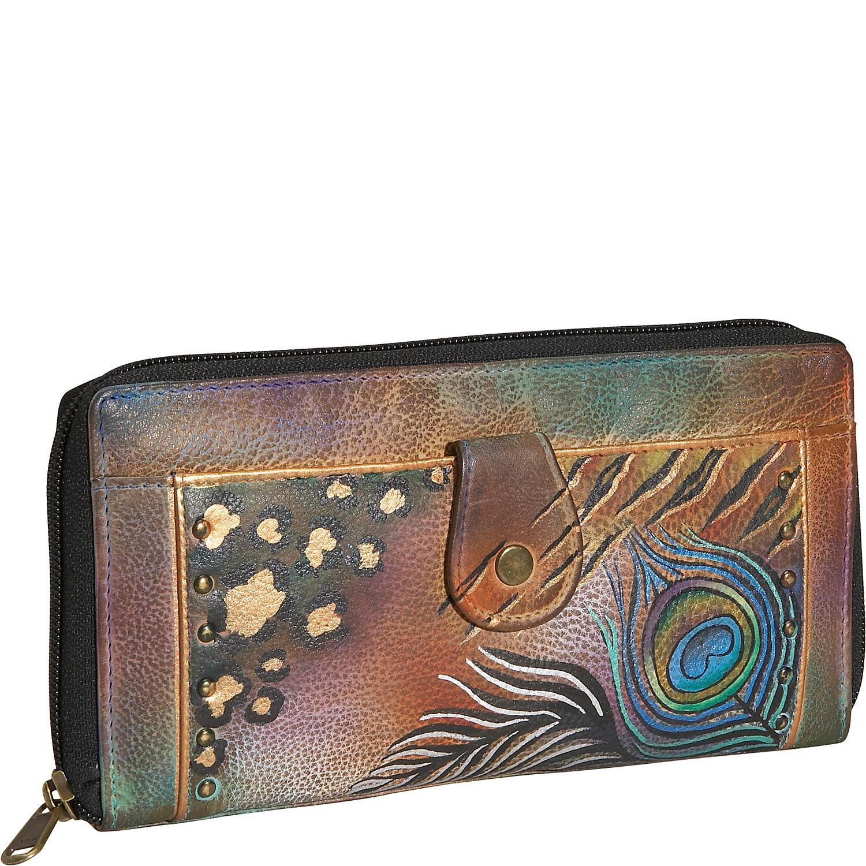 Anuschka Ladies Clutch Wallet Premium Peacock Safari
