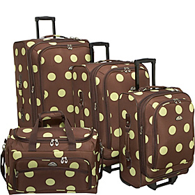 Grande Dots 4-Piece Luggage Set Brown/Apple Green