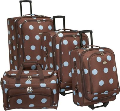 American Flyer Grande Dots 4-Piece Luggage Set Brown/Blue...