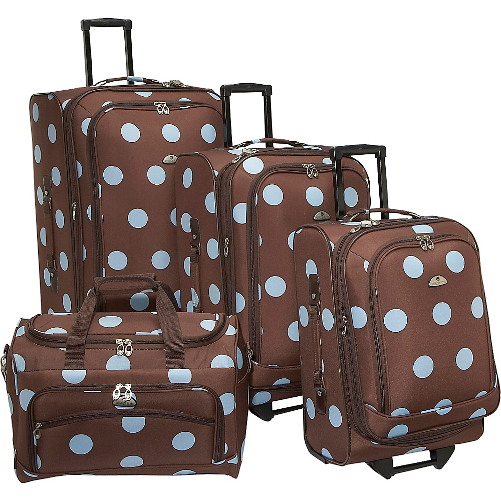 American Flyer Grande Dots 4 Piece Luggage Set Brown Blue American Flyer Luggage Sets