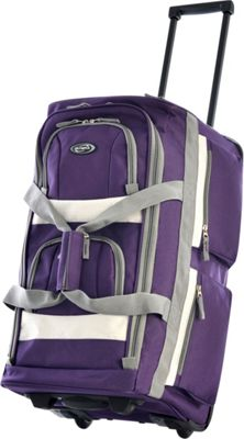 Olympia USA Eight Pocket 26 inch Rolling Duffel Dark Lavendar - Olympia USA Softside Checked