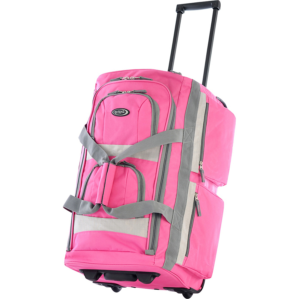 Olympia Eight Pocket 26 Rolling Duffel - Pink - Luggage, Softside Checked