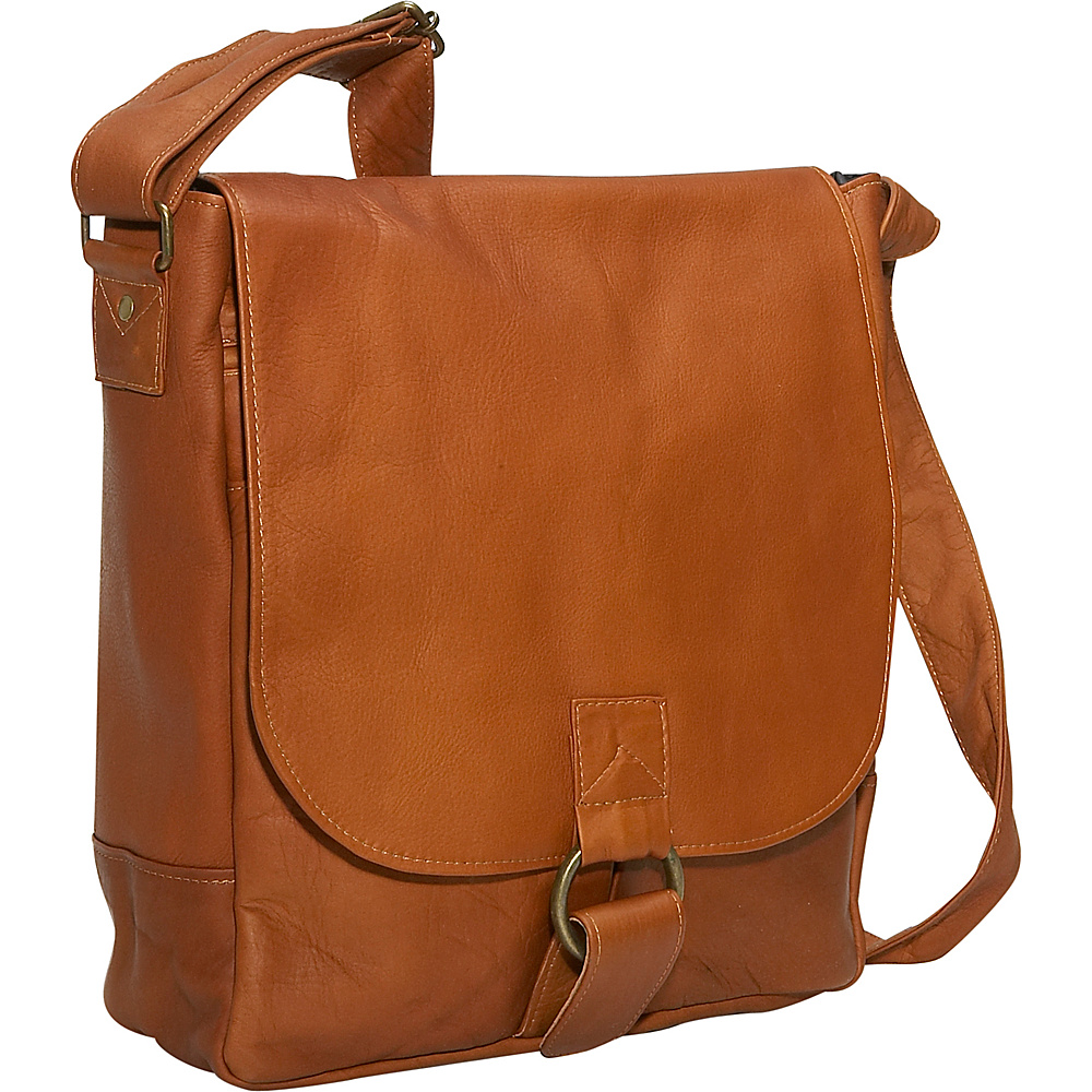 David King & Co. Vertical Laptop Messenger Tan - David King & Co. Messenger Bags