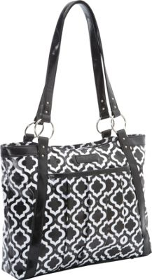 Kailo Chic Women's Casual Laptop Tote Black & White Moroccan - EXCLUSIVE COLOR - Kailo Chic Women's Business Bags