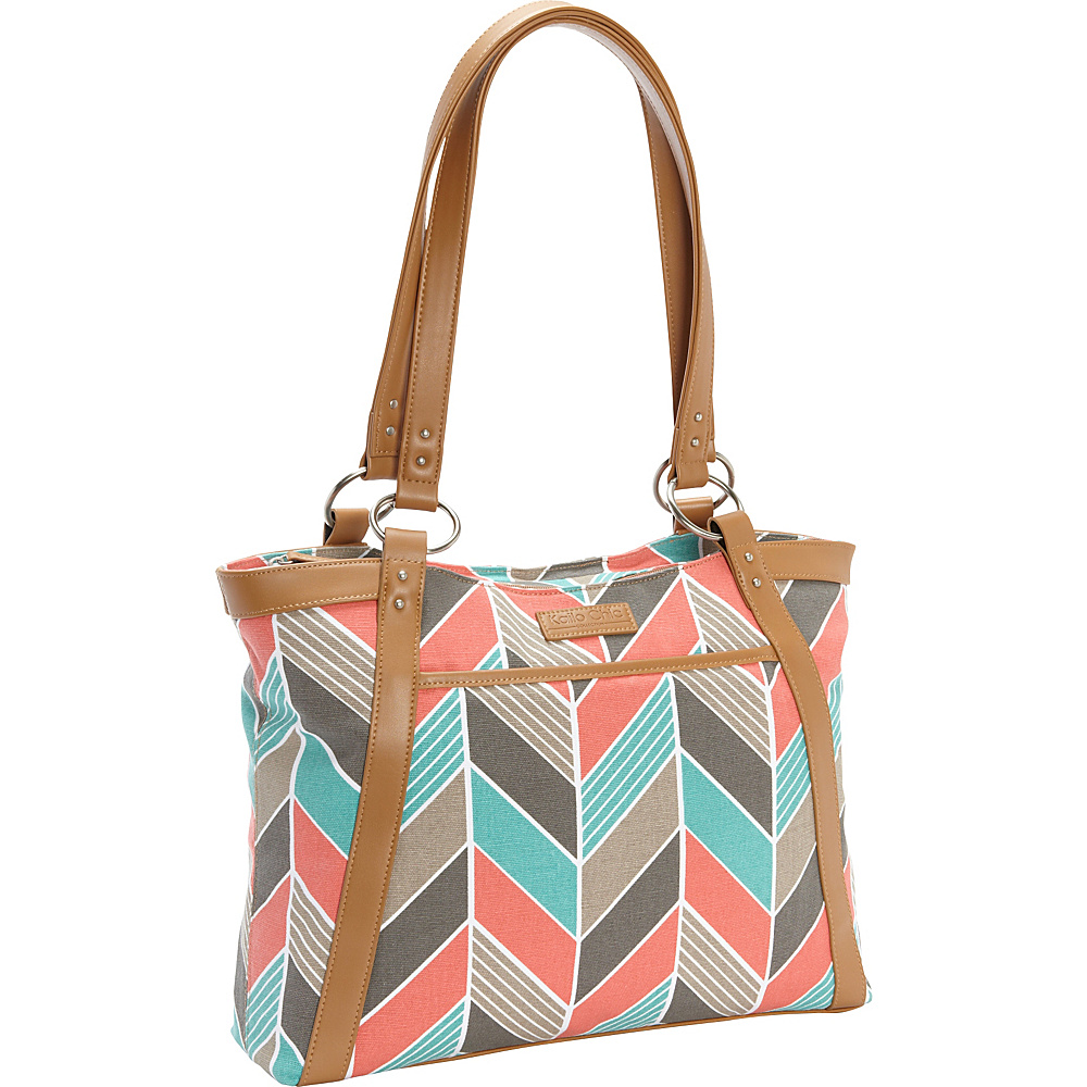Kailo Chic Women's Casual Laptop Tote Coral Turquoise Chevron - Kailo Chic Women's Business Bags