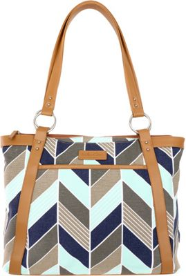 Kailo Chic Women's Casual Laptop Tote Navy and Mint Chevron - Kailo Chic Women's Business Bags