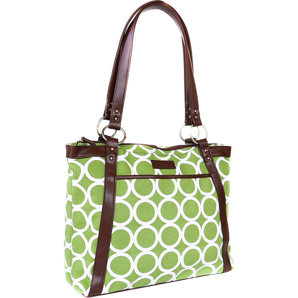 Kailo Chic Women's Pleated Laptop Tote - Green Circles
