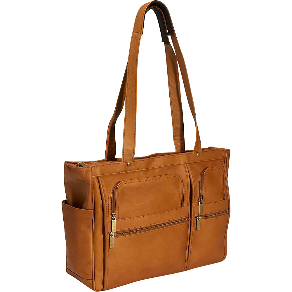 David King & Co. Womens Multipocket Laptop Briefcase Tan - David King & Co. Women's Business Bags
