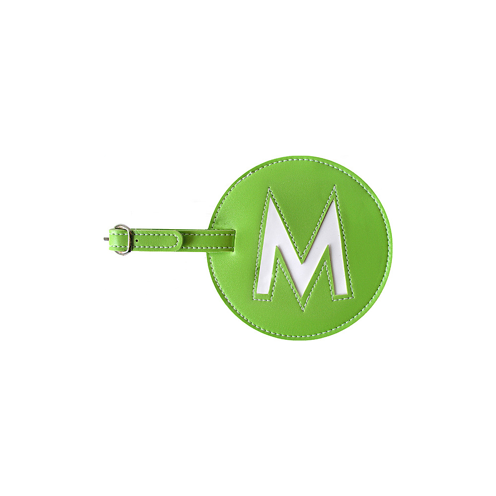 pb travel Initial M Luggage Tag Set of 2 Green pb travel Luggage Accessories