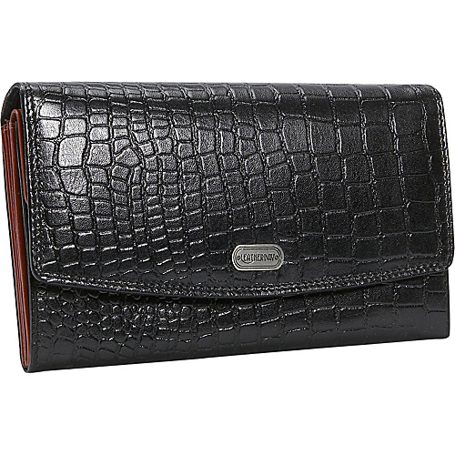 Leatherbay Women's Croc Leather Accordian Wallet