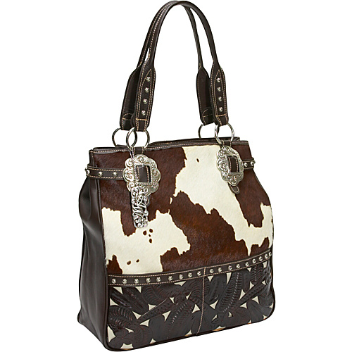 American West Prairie Rose Hair-On Large Zip Top Carryall Brown & White hair w/ chocholate leather - American West Leather Handbags