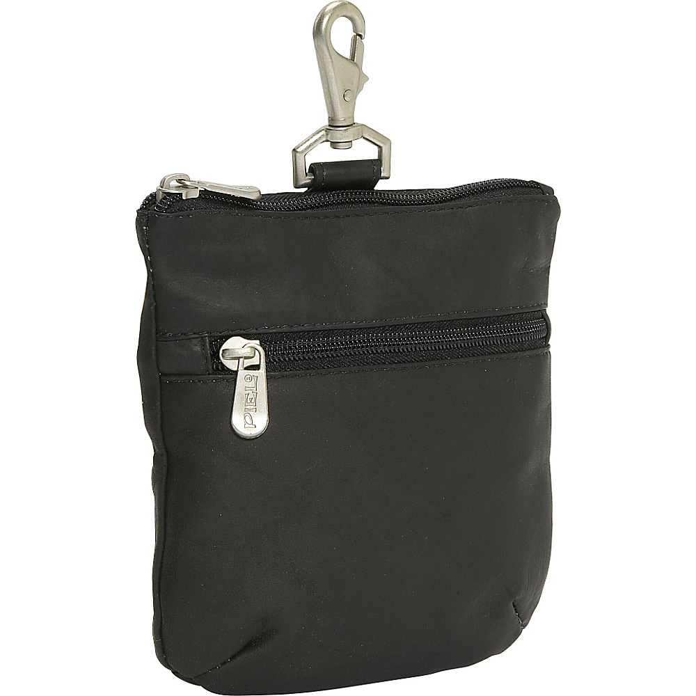 Piel Zippered Valuable Pouch - Black - Travel Accessories, Travel Organizers