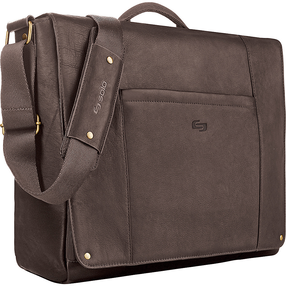 SOLO Vintage Leather Laptop Messenger - Chocolate - Work Bags & Briefcases, Messenger Bags