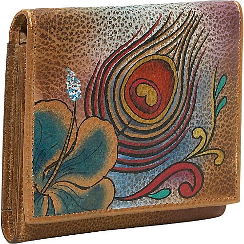 Anuschka Three Fold Wallet - Premium Peacock Flower