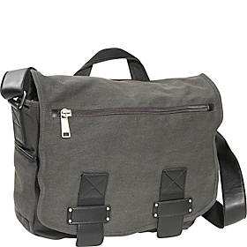 Don't Mess Out On... Single Gusset Canvas Messenger Bag Grey