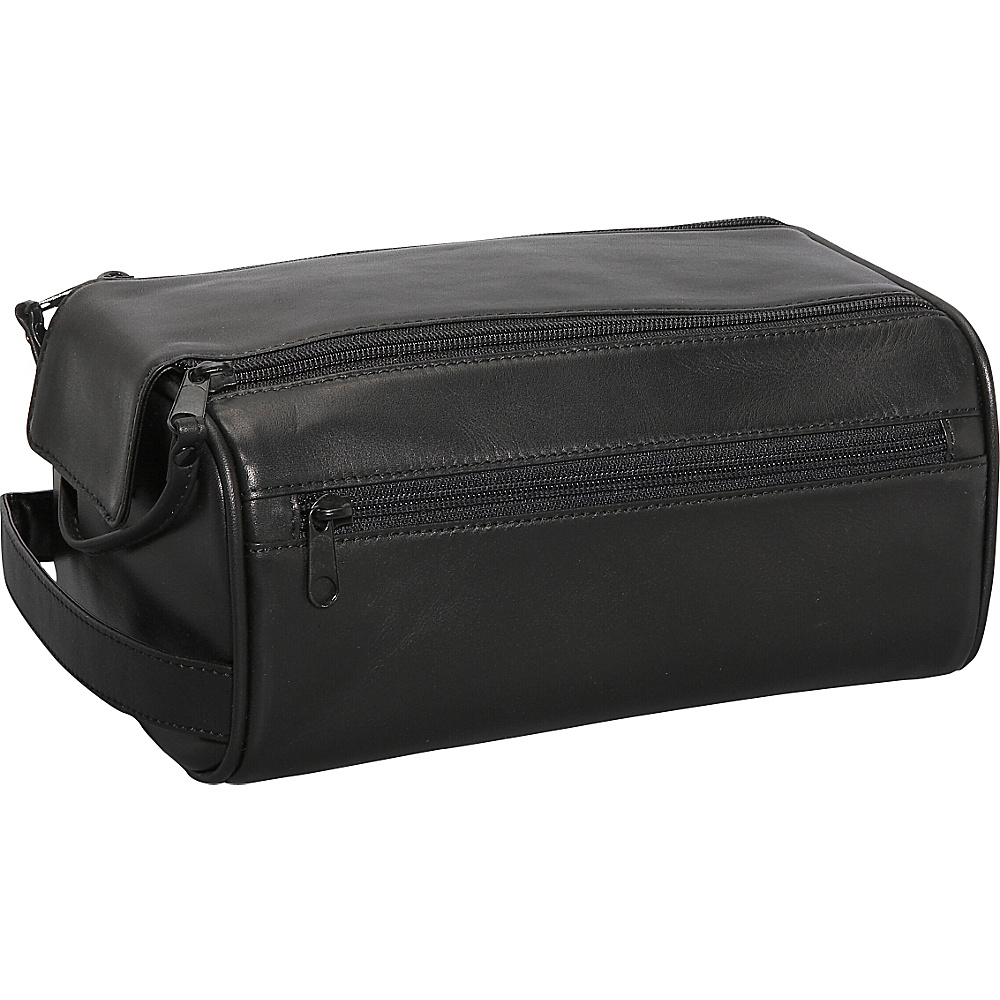 Bosca American Nappa Leather Double Top Zip Kit - Black - Travel Accessories, Toiletry Kits