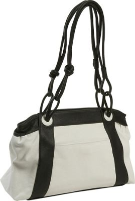 J. P. Ourse & Cie. Manhattan Avenue White/Black - J. P. Ourse & Cie. Leather Handbags