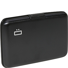 RFID Aluminum Small Ribbed Wallet Black