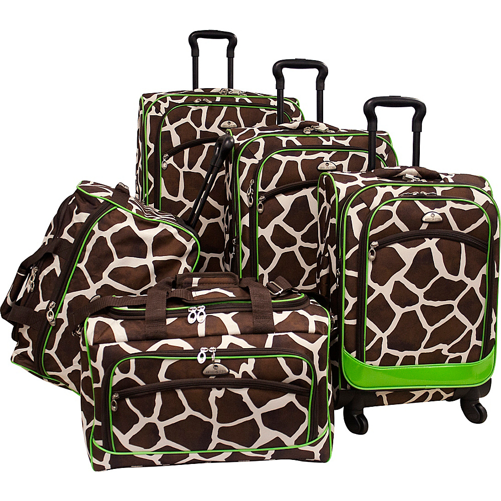 American Flyer Animal Print 5 Piece Spinner Luggage - Luggage, Luggage Sets