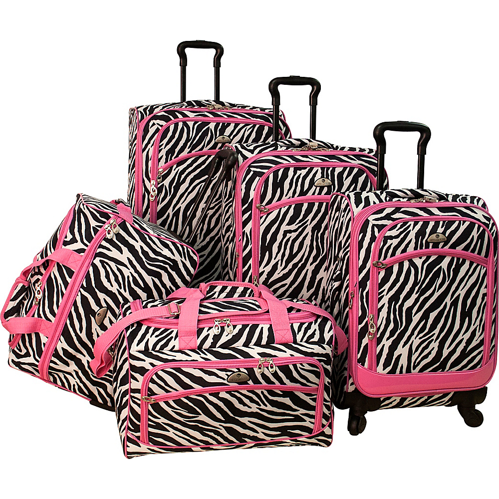 American Flyer Animal Print 5 Piece Spinner Luggage Zebra Pink American Flyer Luggage Sets