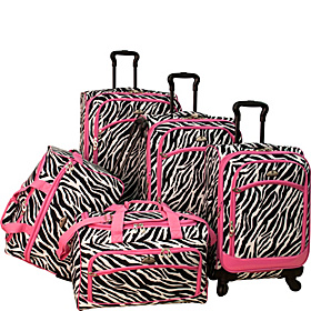 Animal Print 5 Piece Spinner Luggage Zebra Pink