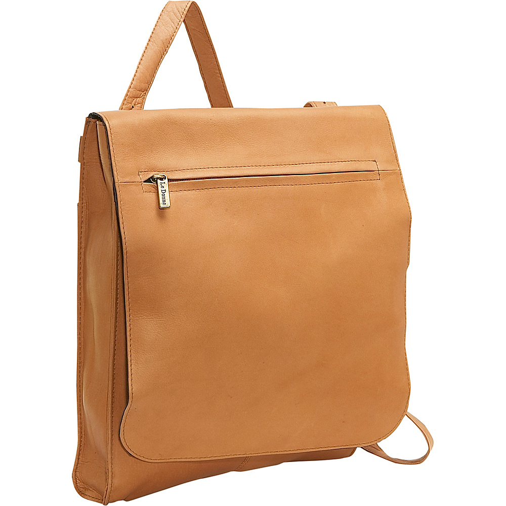 Le Donne Leather Organizer Shoulder Bag/Back Pack - Tan