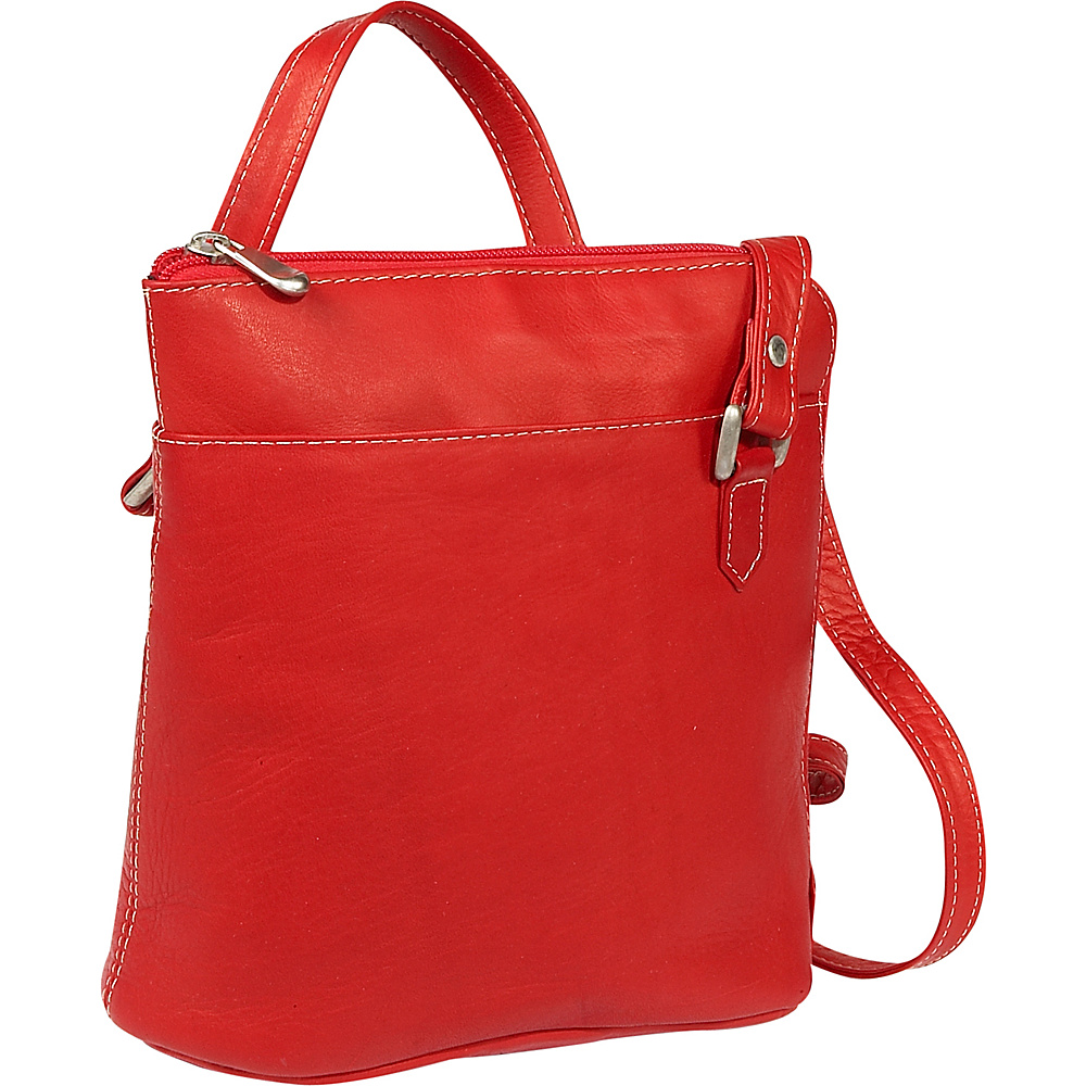 Le Donne Leather L-Zip Shoulder Bag - Red - Handbags, Leather Handbags