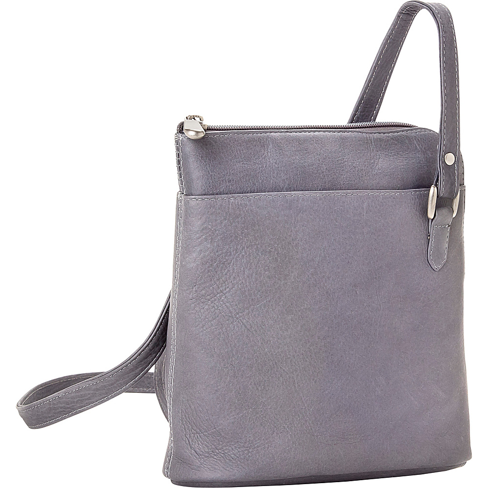 Le Donne Leather L-Zip Shoulder Bag Gray - Le Donne Leather Leather Handbags - Handbags, Leather Handbags