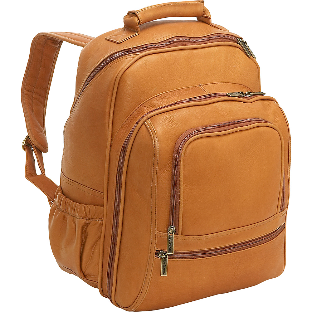 Le Donne Leather Computer Back Pack - Tan - Backpacks, Business & Laptop Backpacks