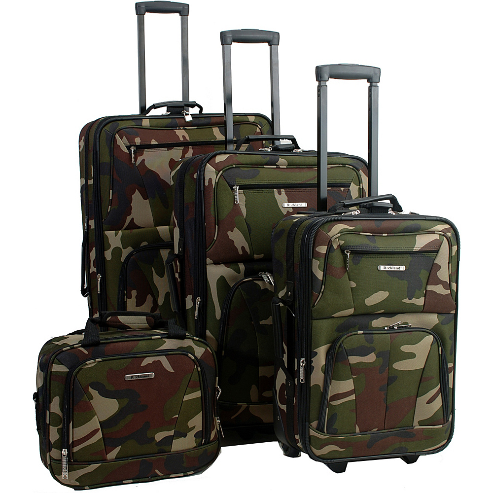 Rockland Luggage Deluxe 4-piece Camouflage Luggage Set