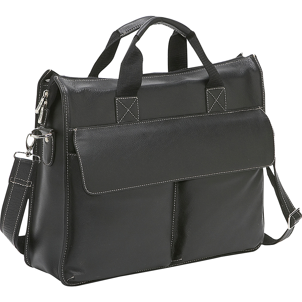 Bellino Leather Briefcase - Black - Work Bags & Briefcases, Non-Wheeled Business Cases