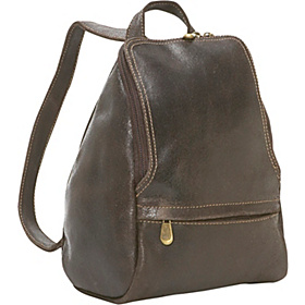 Distressed Leather U-Zip Womens Backpack Chocolate
