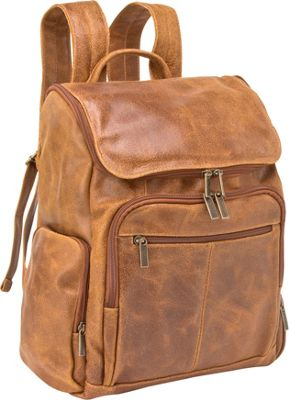 Le Donne Leather Distressed Leather Computer Backpack Tan - Le Donne Leather Business & Laptop Backpacks
