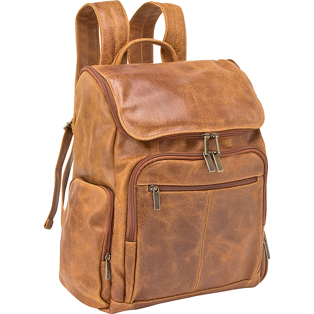 Le Donne Leather Distressed Leather Computer Backpack Tan Le Donne Leather Business Laptop Backpacks