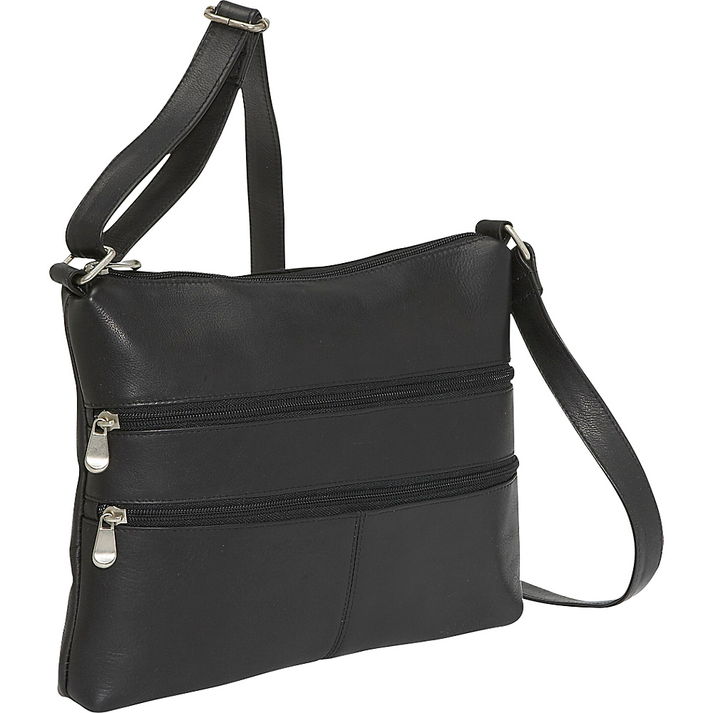 Le Donne Leather Two Zip Crossbody - Black - Handbags, Leather Handbags