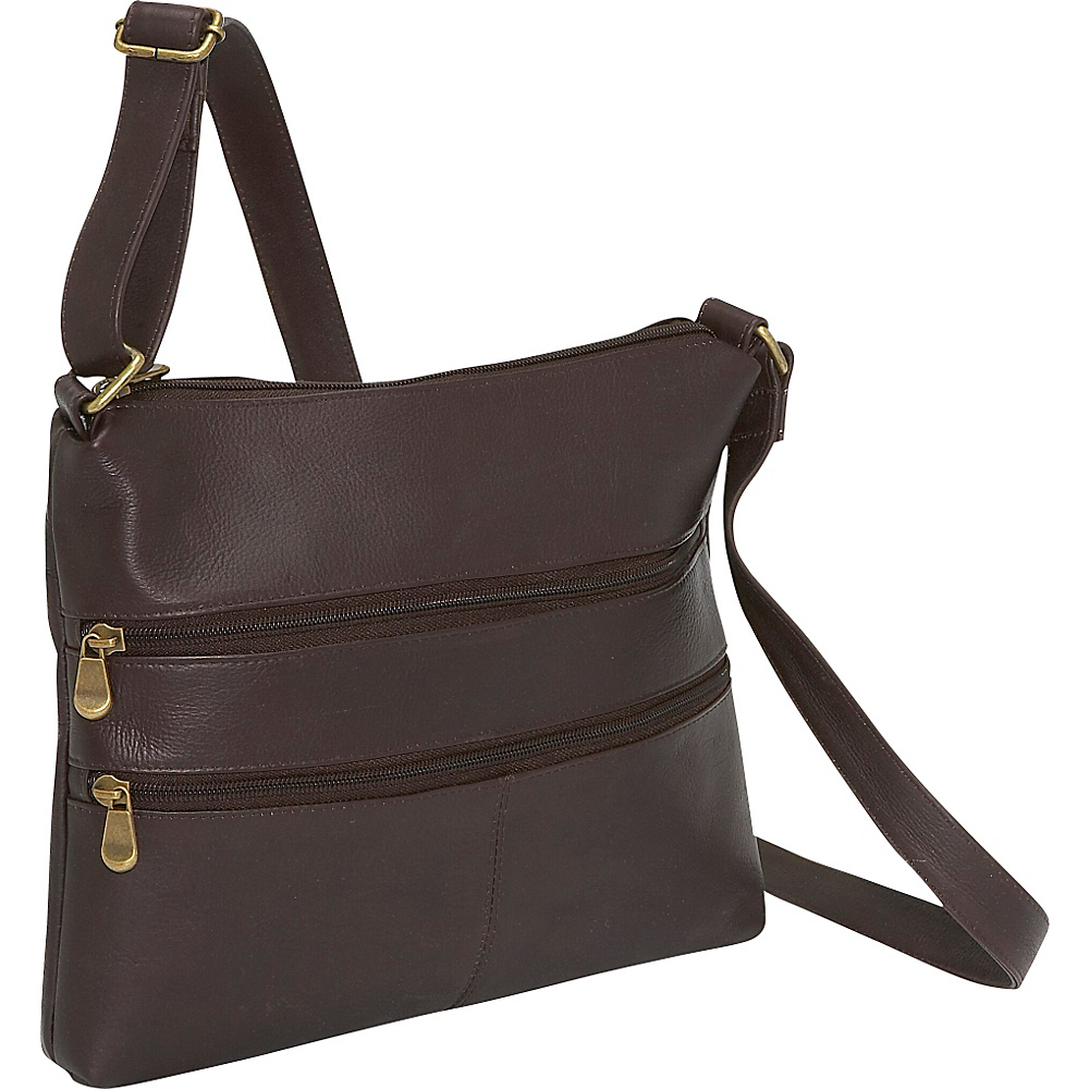 Le Donne Leather Two Zip Crossbody Caf