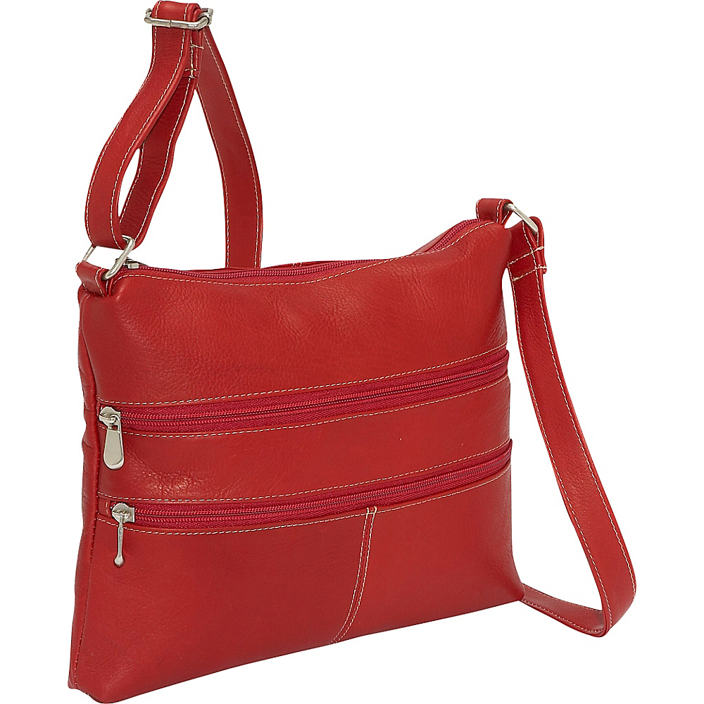 Le Donne Leather Two Zip Crossbody - Red - Handbags, Leather Handbags