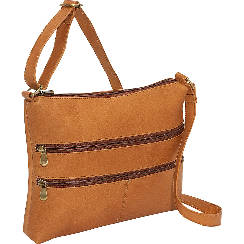 Le Donne Leather Two Zip Crossbody - Tan - Handbags, Leather Handbags