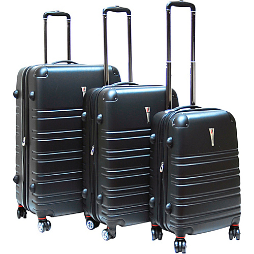 CalPak Modesto 3 Piece Hardside Spinner Set Black - CalPak Hardside Luggage