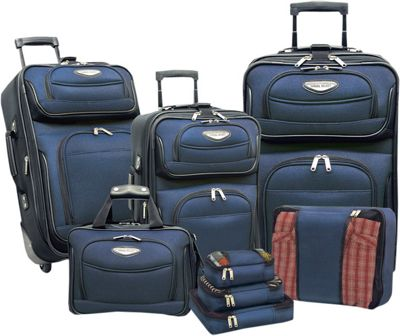 Traveler's Choice Travel Select Amsterdam 8-Piece Softshell Deluxe Expandable Rolling Luggage Set with Packing Cubes Navy - TS6950N-XX