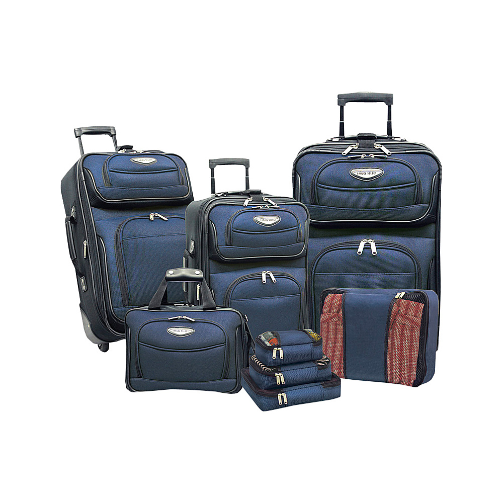 Traveler s Choice Amsterdam 8 piece Luggage Set Navy Traveler s Choice Luggage Sets
