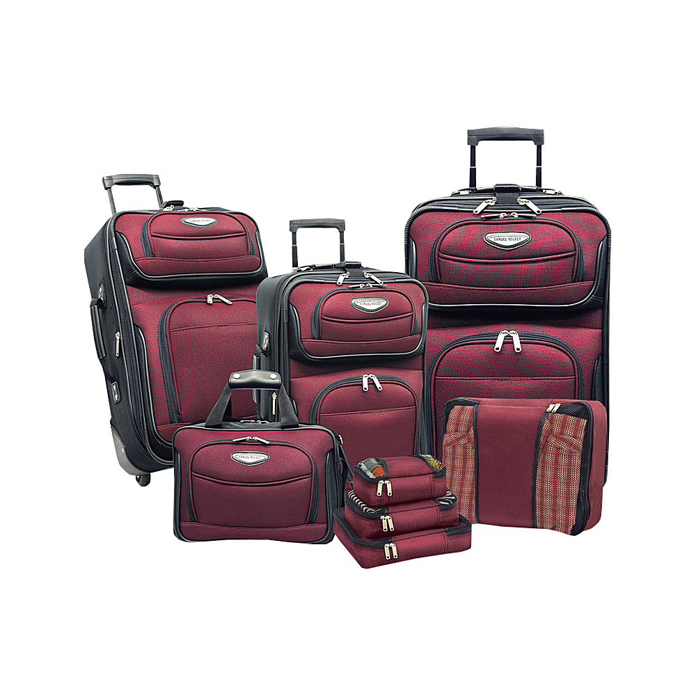 Traveler s Choice Amsterdam 8 piece Luggage Set Burgundy Traveler s Choice Luggage Sets