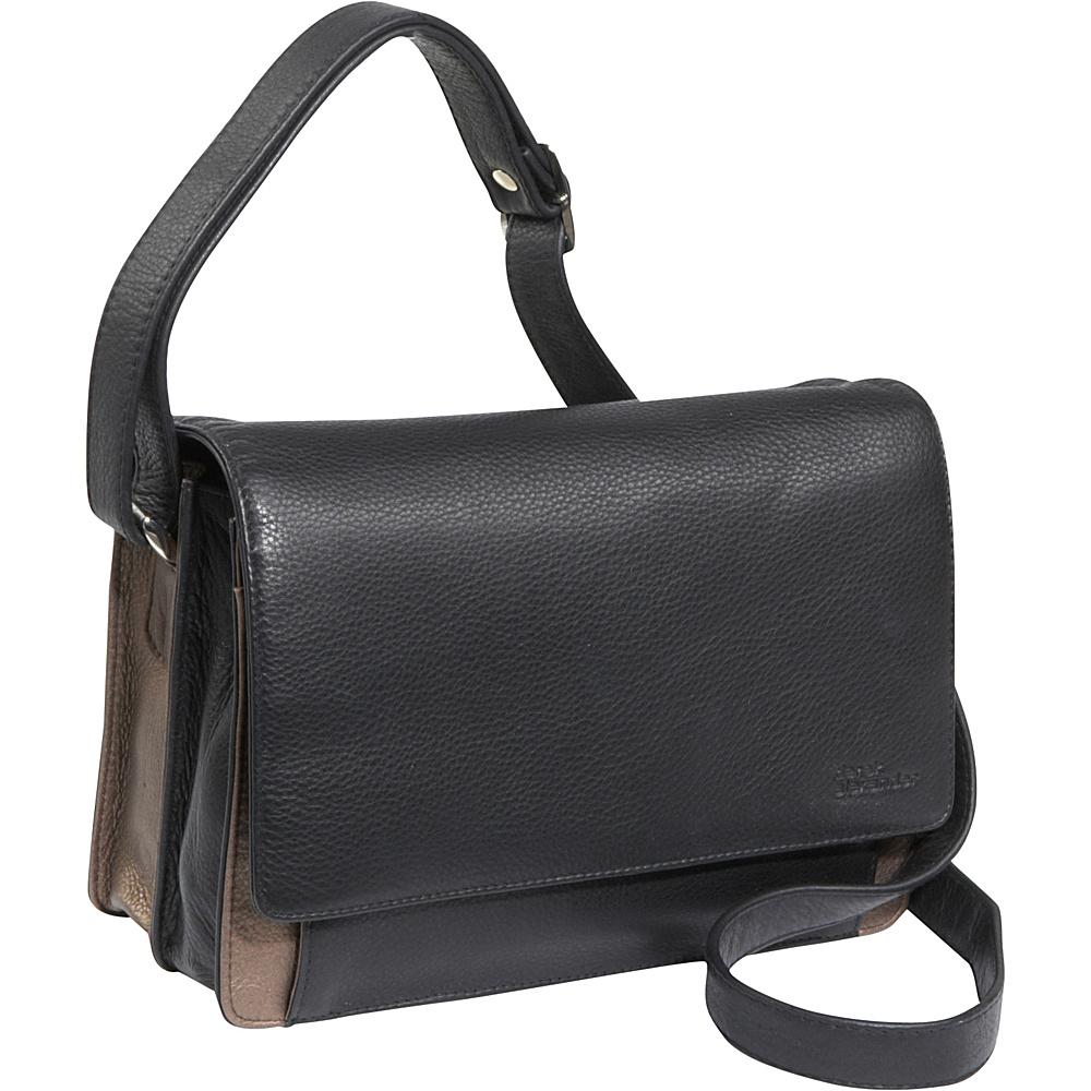Derek Alexander 3/4 Flap Medium Organizer Black/Bronze - Derek Alexander Leather Handbags - Handbags, Leather Handbags