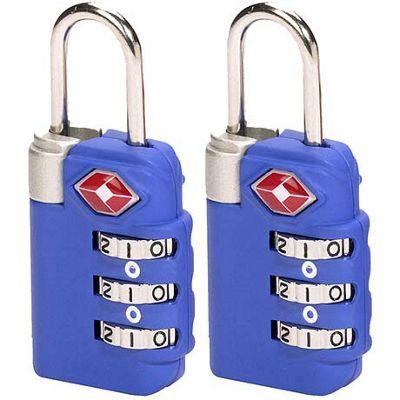 Lewis N. Clark TSA 3-dial Combo Lock/2 pack - Blue