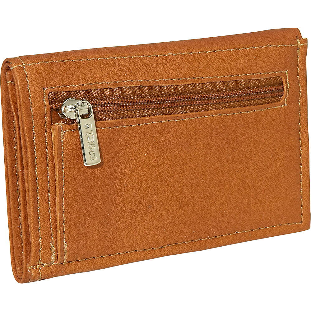Piel Large Tri Fold Wallet Saddle
